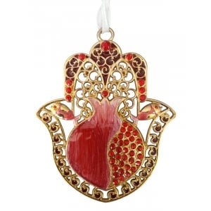 Hamsa with Red Enamel Pomegranate and Crystals