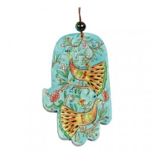 Yair Emanuel Large Green and Gold Wood Wall Hamsa - Peacocks