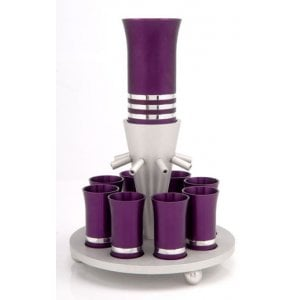 Purple Wine Fountain with 8 Cups by Agayof