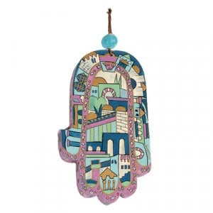 Yair Emanuel Hand Painted Wood Wall Hamsa - Jerusalem in Blue