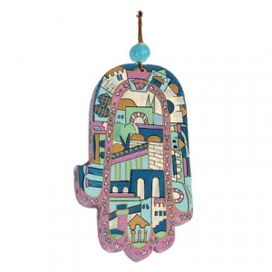 Yair Emanuel Hand Painted Wood Wall Hamsa, Blue - Jerusalem