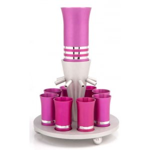 Hot Pink-Silver Color Agayof Kiddush Fountain