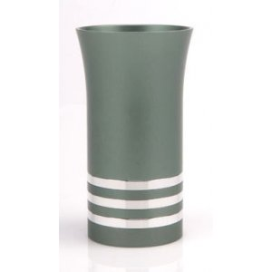 Green Agayof Kiddush Cup with Silver Stripes