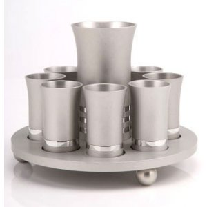 Silver Color Agayof Kiddush Cup Set