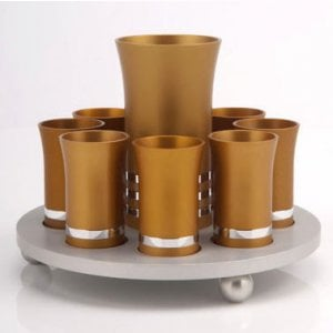 Gold Color Kiddush Cup Set with 8 Small Cups - Agayof