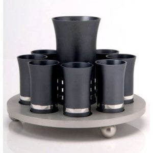 Kiddush Cup Set by Agayof - Two Tone Gray