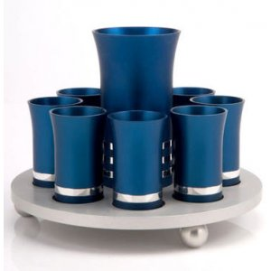 Blue-Silver Kiddush Cup Set with 8 Cups by Agayof