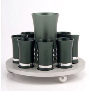 Green-Silver Agayof Kiddush Cup Set with 8 Cups
