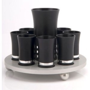Black-Silver Agayof Kiddush Cup Set