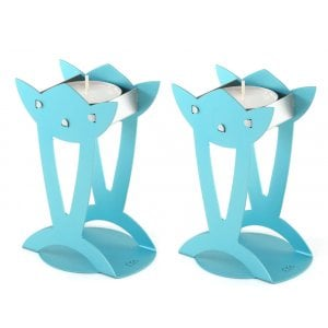 Shraga Landesman Flower Shaped Raised Candle Holders - Turquoise