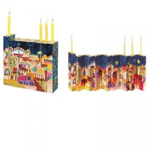 Yair Emanuel Hand Painted Wood Accordion Hanukkah Menorah - Jerusalem Images