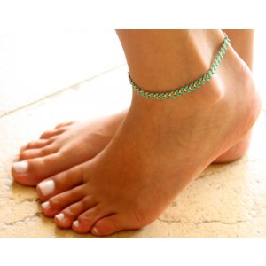 Turquoise and Gold Plate Anklet by Gali's
