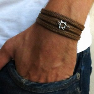 Star of David Men's Wrap Rope Bracelet by Gali's