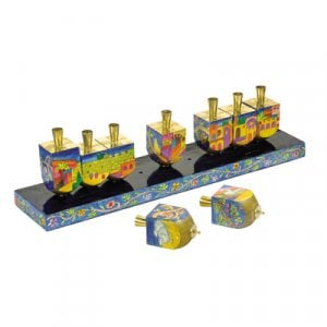 Yair Emanuel Painted Wood Dreidel Hanukkah Menorah - Jerusalem Images