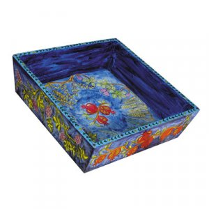 Yair Emanuel Hand Painted Wood Blue Matzah Tray - Seven Species
