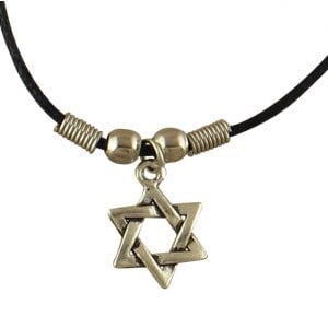 Rhodium Star of David on Black Necklace