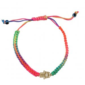Hamsa on Neon Multicolored Plaited Cord Bracelet