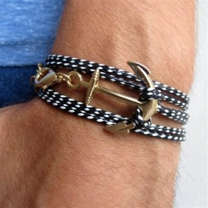 Black-White Rope Anchor Design Men's Bracelet - 1 in stock