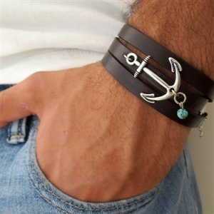 Silver Plated Anchor Triple Wrap Leather Men's Bracelet