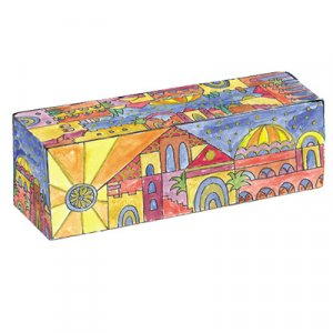 Yair Emanuel Hand Painted Compact Wood Hanukkah Menorah - Golden Jerusalem