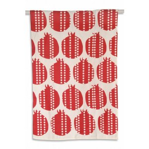 Barbara Shaw Red Linen Dish Towel - Pomegranates
