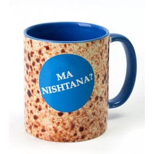 Barbara Shaw Coffee Mug for Pesach - Ma Nishtana on Matzah Background