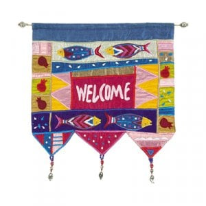 Yair Emanuel Silk Applique Welcome Wall Hanging, Fish - English