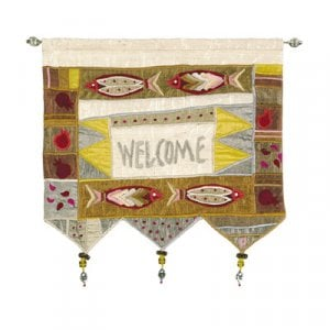 Yair Emanuel Silk Applique Welcome Gold Wall Hanging, Fish - English