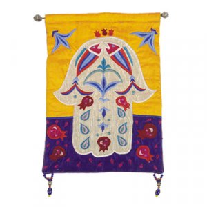 Yair Emanuel Small Hamsa, Appliqued Silk Wall Hanging – Fish & Pomegranates