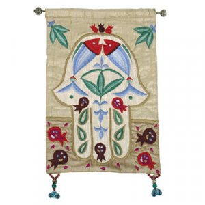 Yair Emanuel Small Hamsa, Gold Applique Silk Wall Hanging - Fish & Pomegranates