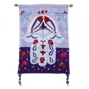 Yair Emanuel Small Hamsa, Blue Applique Silk Wall Hanging - Fish & Pomegranates
