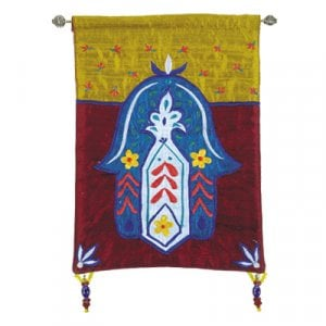 Yair Emanuel Small Hamsa, Blue & Colored Appliqued Silk Wall Hanging - Flowers
