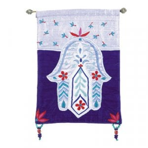 Yair Emanuel Small Hamsa, Purple & Blue Appliqued Silk Wall Hanging – Flowers