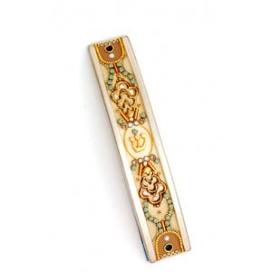Gold-Turquoise Curved Pewter Mezuzah Case by Ester Shahaf