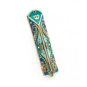 Oriental Design Triangular Mezuzah Case by Shahaf