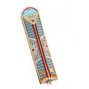 Blue Checker Triangular Mezuzah Case - Ester Shahaf