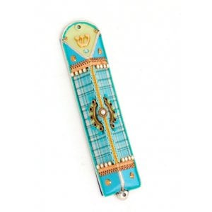 Turquoise Checker Triangular Mezuzah Case - Ester Shahaf