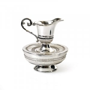 Classic Style Silver-Plated Mayim Achronim Cup and Bowl