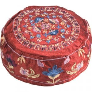 Yair Emanuel Embroidered Bucharian Hat Kippah on Rich Maroon – Flowers
