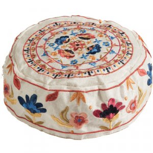 Yair Emanuel Hand Embroidered White Bucharian Hat Kippah, Colorful Floral Design