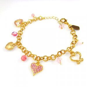 Heart Charm Bracelet in Pink by Edita