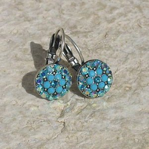 Turquoise Color Flower Earrings by Edita