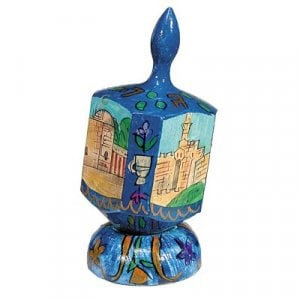 Yair Emanuel Large Hand Painted Wood Dreidel on Stand - Jerusalem Vistas