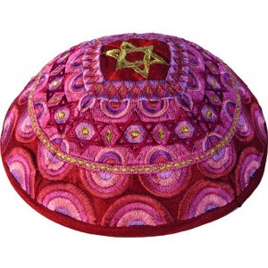 Yair Emanuel Embroidered Pink & Gold Kippah – Star of David Decoration
