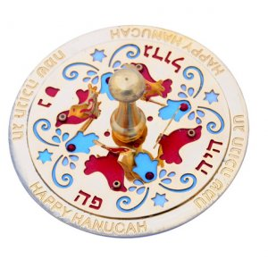 Red Hamsa Dove Dreidel by Ester Shahaf