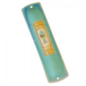 Turquoise Ceramic Mezuzah Case with Fish by Michal ben Yosef
