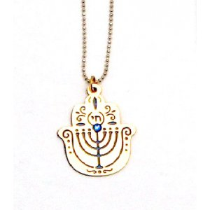 Ester Shahaf Menorah Hamsa Necklace