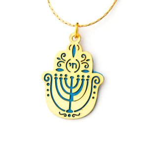 Ester Shahaf Blue Menorah Hamsa Necklace