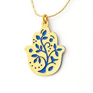 Ester Shahaf Hamsa Necklace with Tree Design