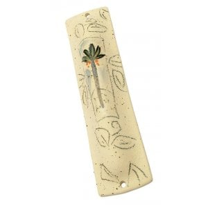 Sturdy Palm in Desert Ceramic Mezuzah Case by Michal Ben Yosef
